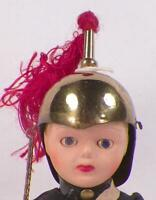 English Soldier Queens Guard Doll Hard Plastic Brass Helmet Sword Vintage NIce