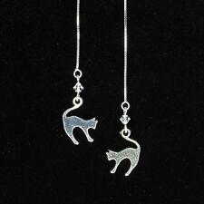 *SJ1* 3D Cat Charm Sterling Silver Threader Dangle Earrings w/ Upick Swarovski
