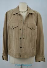 Marlynn Traditions Vintage Suede Tan Leather Jacket lined tailored hip Coat M L