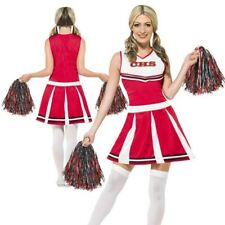 Ladies Cheerleader Fancy Dress Costume + Pom Poms Dress Up Outfit