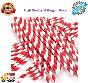 "250-1000 Paper Drinking Straws Stripe Biodegradable Premium Quality 20Cm 8"""