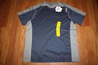 NWT Mens REEBOK SPORT Playdry Heather Navy Gray V-Neck Shirt Size Large L