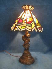 Vtg STAINED GLASS Tiffany Style CHERUB BASE TABLE LAMP LIGHT..Gorgeous & Unique!