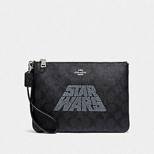 COACH STAR WARS X  Gallery Pouch in Signature Canvas Silver/Black Brand New