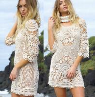 Women's Bodycon Knit Boho  Maxi Beach Summer Dress Bikini Sundress Bathing Suit