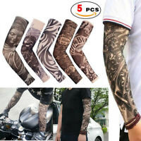 5 pcs Tattoos Cooling Arm Sleeves Cover UV Sun Protection Basketball Cycling