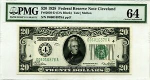 $20 1928 B FEDERAL RESERVE NOTE CLEVELAND F 2050 D LUCKY MONEY VALUE $1500
