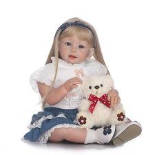 Toddler 29'' Reborn Baby Girl Dolls Silicone Blonde Hair Wear Newborn Bebe Gifts