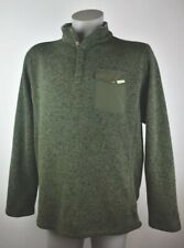 Woolrich Mens Pullover Outdoor Fleece Hunter Green 4 Button Sweater Jacket XL