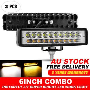 2X 6 INCH White & Amber LED WORK LIGHT BAR COMBO OFFROAD DRIVING FOG LAMP UTE
