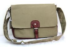"Tela Color Kaki Vintage Laptop Notebook 13"" multi uso Custodia a Tracolla Messenger Bag"