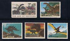 Dinosaurs - T-Rex, Stegosaurus, Brontosaurus & More - Set Of 5 U.S. Stamps