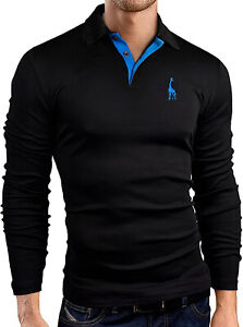 Mens Polo Shirt Stretchable Slim Fit Top Long Sleeve Contrast Colours  PL17