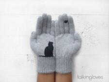 TALKINGLOVES Handmade Angora Women Kids Grey GLOVES Mittens CAT KITTEN w/Bird