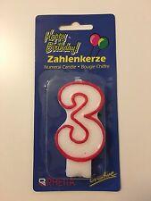 * Zahlenkerze * Kerze * Geburtstag * Kindergeburtstag * rot umrandet * Zahl 3 *