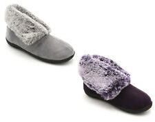 Womens Ladies Slippers Padders Memory Foam Insole Fluffy Faux Fur Bootie Slipper