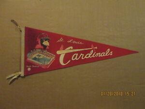 MLB St.Louis Cardinals Vintage Circa 1960's Busch Stadium Logo Baseball Pennant