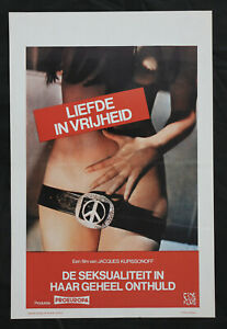 Original Love and Freedom Sex Hippie One Sheet Movie Poster Folded Peace 1970s