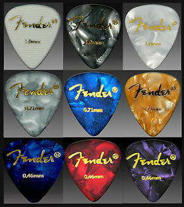 9 FENDER GUITAR PICKS Plectrums Mix Colors  (medium/thin/heavy) SALE !!