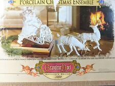 Santa Sleigh Reindeer Porcelain Grandeur Noel 2000 Christmas w/ Box Complete!
