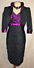 LUIS CIVIT MOTHER OF THE BRIDE BLACK & MAGENTA DRESS & BOLERO JACKET SIZE 8