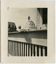 WEDDING CAKE STILL LIFE OUTDOORS COUPLE CAKE TOPPER VINTAGE SNAPSHOT PHOTO