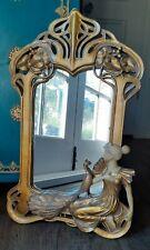Gold Wall Mirror ~Art Nouveau ~ Gorgeous Classic Nouveau Fretwork w/Peacock Bird