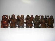Japanese Wooden Netsuke Seven Deities of Good Luck Handmede All Complete F/S