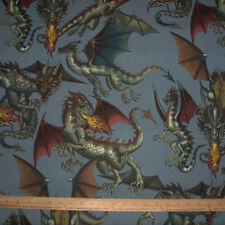 Cotton Fabric Alexander Henry Tale of the DRAGON Blue / Gray Game of Thrones BTY