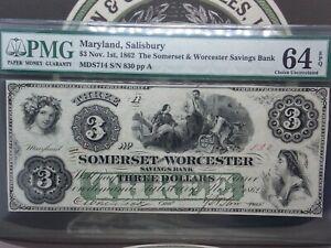 1862 $3 Maryland SALISBURY Somerset & Worcester Note Obsolete PMG 64 EPQ GEM #MB