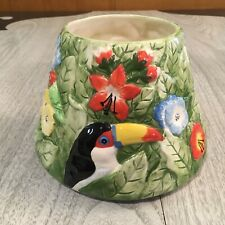 Yankee Candle Jar Shade Topper Tropical Paradise Jungle Toucan Parrots Flowers