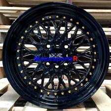 XXR 536 Black Lip Gold Rivets 16 x 8 +20 Wheels Rims 4x100 Stance Honda Civic SI