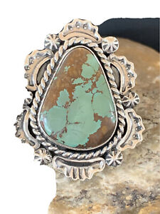 Navajo Native Indian American Sterling Silver Green Turquoise Ring Sz 8.5 01857
