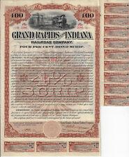 MICHIGAN 1893 Grand Rapids & Indiana Railroad Co Bond Stock Certificate SCRIP