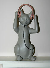 More details for cat with headphones ornament 35cm high - music gift *boxed* new