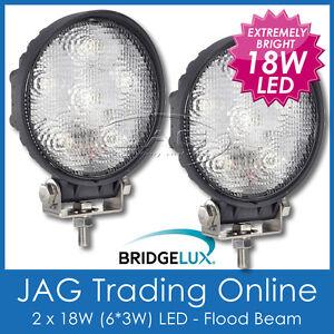 2 x 18W LED ROUND FLOOD/WORK LAMP - 4x4/Boat/Driving/Truck/Caravan/Deck Lights