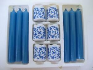 Vintage Funny-Leuchter Porcelain Party Candleholder Candles Set White Blue Onion