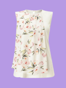 Precis Petite Petite Floral Woven Front Top Ivory Size UK 12 rrp £45 DH081 GG 12