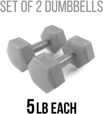 New 5 lb Vinyl Hex Dumbbell Weights - Set of 2 - 10 Pounds Total - Ships FAST!