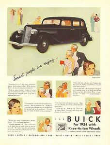 Buick, Smart People Are Saying..., Vintage 1934 Antique Car Ad