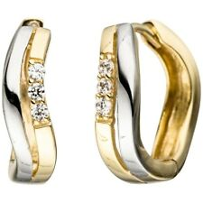 Pair Hoop Earrings Wavy with Zirconia White, 333 Yellow Gold Rhodium-Plated