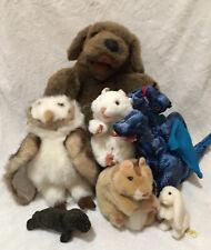 LOT OF 7 Folkmanis Hand Finger Puppets Plush Owl Dog Seal Bunny Rat Hamster
