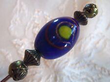 Vintage Blue Yellow Venetian Glass Art Glass Hatpin Brass 8&3/4 inch