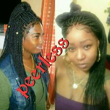 Fully hand braided lace frontal (ear to ear lace) box braids wig color 1