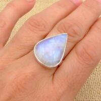 Moonstone Teardrop 925 Sterling Silver Ring UK Size O 1/2-US 7 1/2 Jewellery