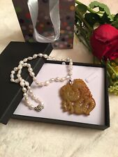 Carved Dragon Jade Baroque Pearl Strand Necklace
