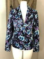 ann taylor Womens 4 Navy Floral Cotton Blend Button Front Long Sleeve Blazer HH