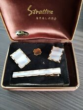 Vintage Tie Pin and Cufflink Real Mother of Pearl by Stratton