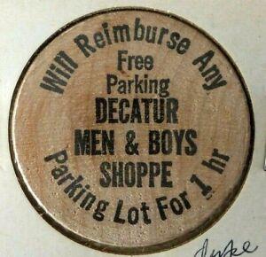 VINTAGE DECATUR GEORGIA MENS & BOYS SHOPPE FREE PARKING 1 HOUR WOODEN NICKEL