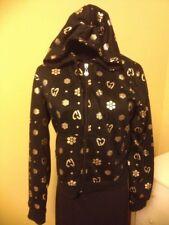 CrownCrestJeans Black ZipperUpFront Hoodie GoldDecals Long Sleeves Girls Sz L
